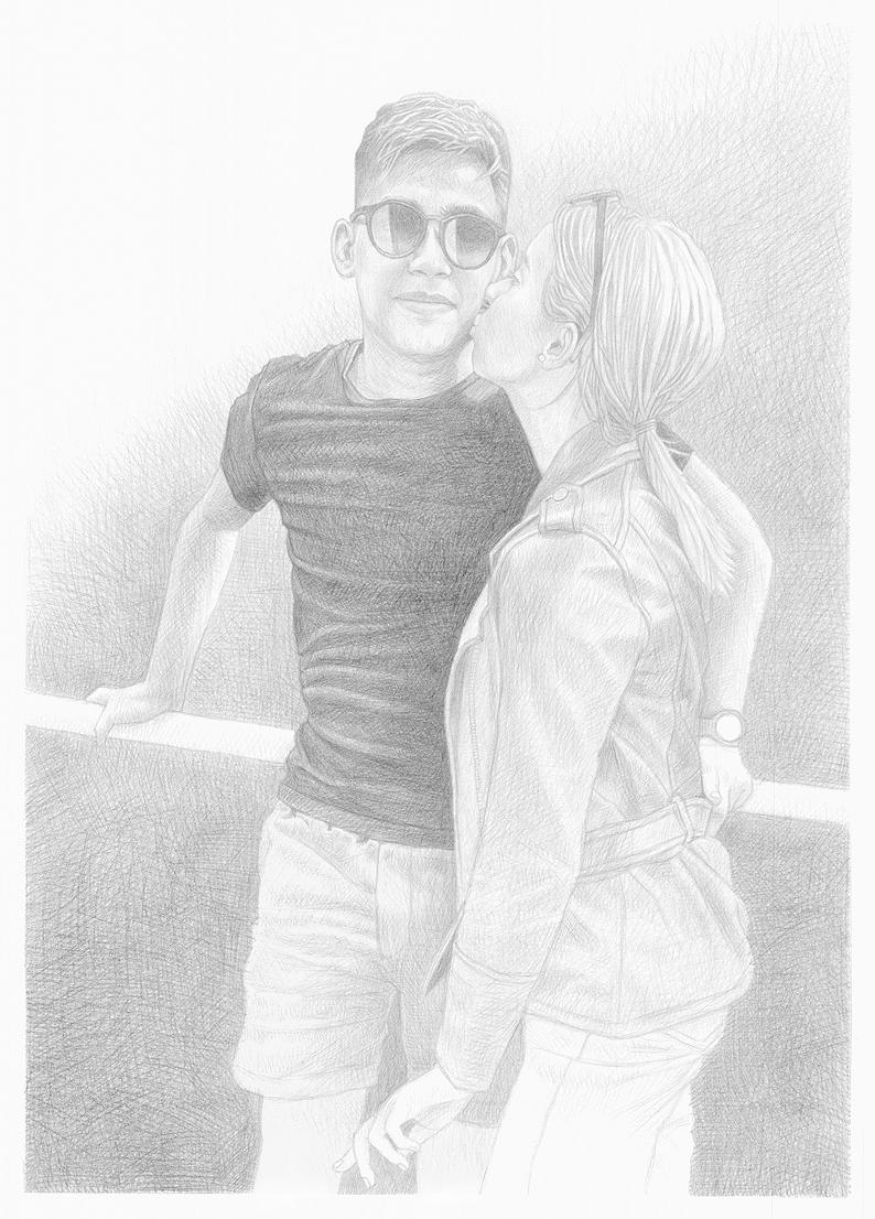 Černobílá kresba podle fotografie – dvojportrét/ A2