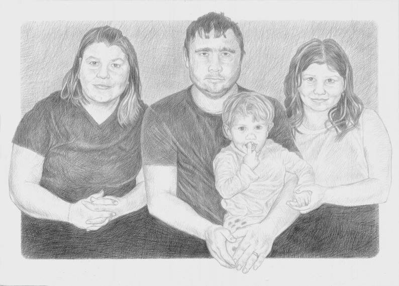 Černobílá kresba podle fotografie – skupinový portrét/ 500 x 700 mm