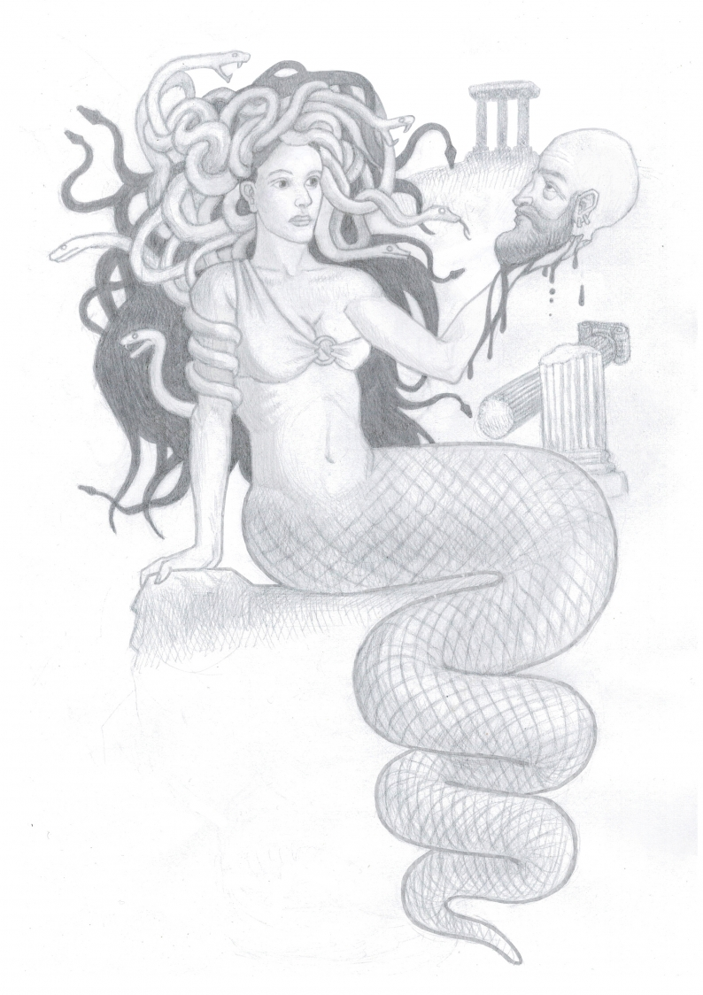Černobílá kresba podle zadání – Medusa a Perseus/ A4