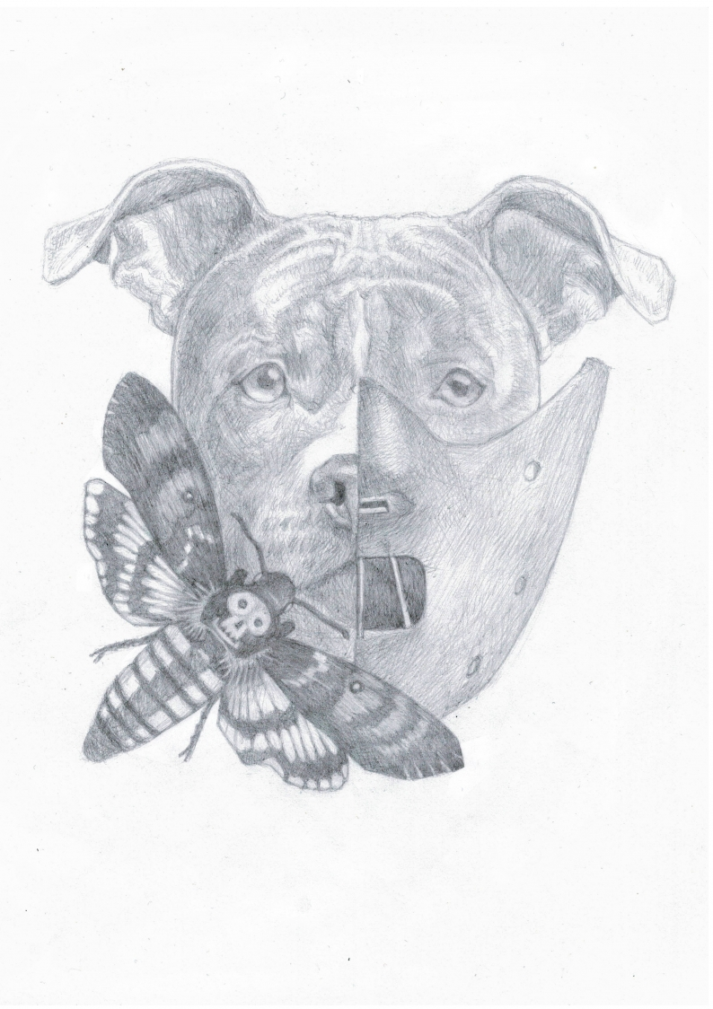 Černobílá kresba podle zadání – Smrtihlav/ A4