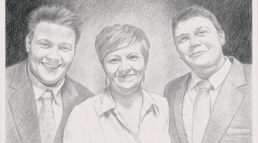 černobílý portrét podle fotografie